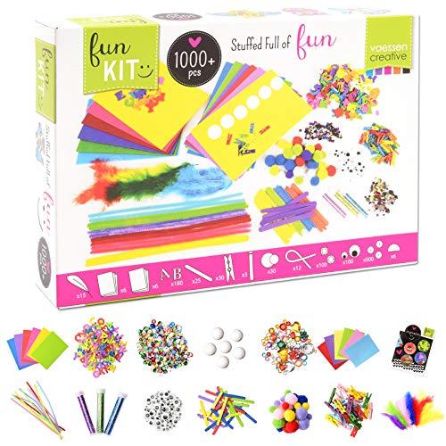 Vaessen Creative Bastelset für Kinder mit über 1000 Bastelmaterialien wie Filz, Moosgummi, Federn, Pfeifenputzer, Pailletten und Strasssteinen