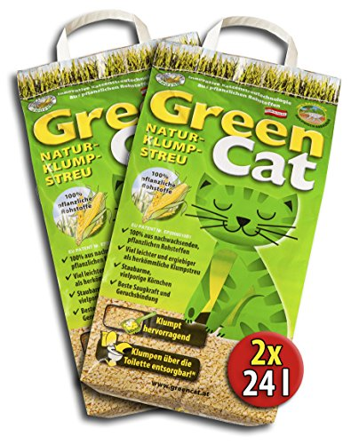 2x24 =48 Liter GREENCAT NATURSTREU ÖKO-PLUS GREEN CAT`S KATZENSTREU - BEST STREU GREEN CAT - kostenloser Versand innerhalb Deutschlands (außer Inseln)