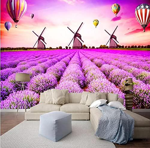 Glfeng Benutzerdefinierte 3D Wandtuch Europäischen Stil Lavendel Windmühle 3D Wandbild Tapete Wohnzimmer Schlafzimmer Wanddekoration Papel de Parde 3D-400cmx280cm