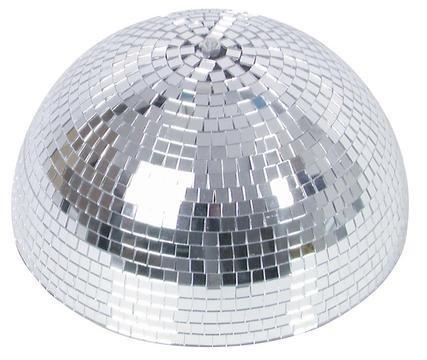 showking Disco - Halbkugel Glanz mit Sicherheitsmotor, Ø 30cm, Silber - Halbe Spiegel Kugel mit Drehmotor