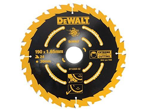 DeWalt Kreissägeblatt (für Handkreissägen ohne Spaltkeil, Sägeblatt-ø 190/30, 24WZ, für universellen Einsatz) DT10304
