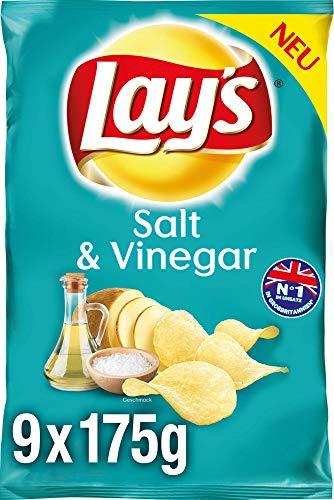 Lay's Salt & Vinegar - Knusprig gewürzte Kartoffelchips für eine gelungene Party - 9 x 175g