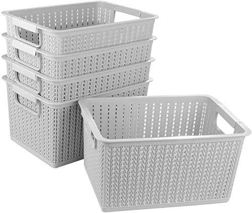 STARVA ST 5 Pcs Panier de Rangement Plastique, Corbeille Rangement pour Bureau, Salle de Bain, Cuisine - 270MM x 190MM x 140MM (Gris)