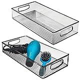 mDesign Set da 2 Contenitori per il bagno – Organizer in plastica per cosmetici, prodotti bagno e molto altro – Grande cesto per il bagno con manici – grigio fumo