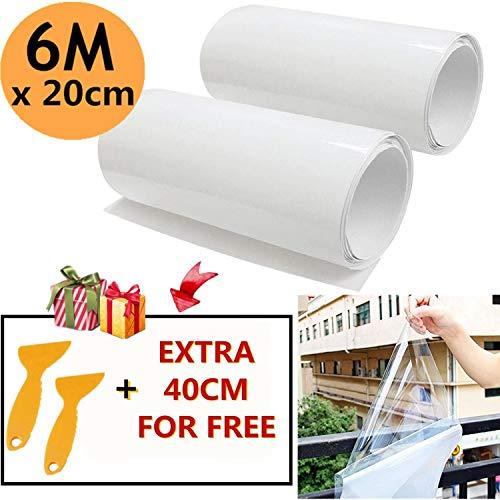 Mioke 2 Rolle 3M Lackschutzfolien für Auto Einsatz als Auto Folie Schutzfolie Selbstklebend Transparent mit 2 Schabern (20 * 300cm)