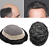 FACE MIRACLE Fine Mono Durable Mens Toupee Hairpiece 100% Human Hair Replacement System D7-3 (810, 1B10# 1B#OFF BLACK+10% SYNTHETIC GREY)