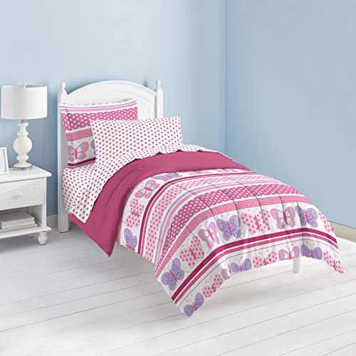 Dream Factory Butterfly Dots Ultra Soft Microfiber Girls Comforter Set, Pink, Full