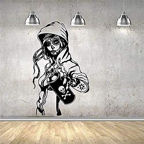 Pegatinas de pared Mural Decal Vinyl Decor Candy Sugar Skull Graffiti Girl Cartoon Living Art Decor Tatuajes de pared Pegatinas de pared 58 cmX 96 cm