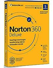 Norton 360 Deluxe 2021, antivirussoftware, internetbeveiliging, 5 Apparaten, 1 Jaar, Secure VPN en Password Manager, PCs, Macs, tablets en smartphones