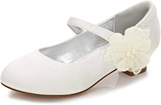 0540a27bcbe1 LLBubble Satin Flower Girls Shoes Low Heels Round Toe Wedding Party Pumps  for Kids Princess Dress