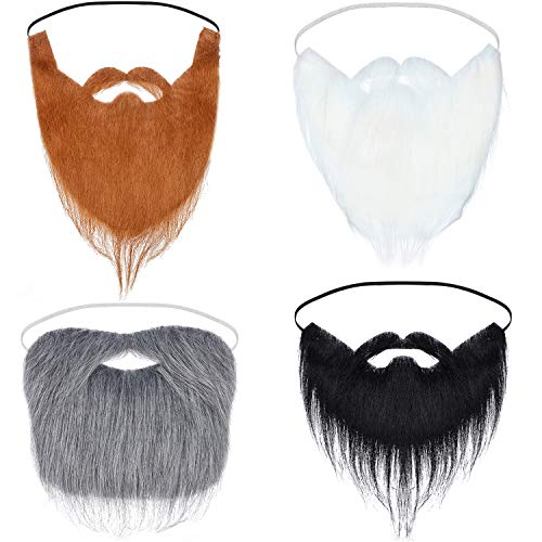 4 Pieces Fake Beards Halloween Funny Fake Mustache Fake Whisker for Halloween Costume Party Supplies