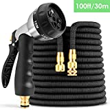 amzdeal 30m Extendable Garden Hose 100ft High Pressure Resistant 3-Layer Latex Retractable Hose with 7 Function Spray Gun Zinc for Gardening Car Wash Bathing Animal