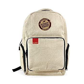 RAW X Rolling Papers Burlap Backpack - Smell Proof 6 Layer Design with Lockable Silicone Gasketed Double Zippers