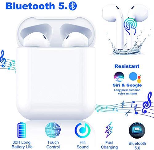 🎧🎧【Auricolare Bluetooth - Stereo HD】Tecnologia wireless Bluetooth 5.0,il microfono incorporato di alta qualità e la tecnologia di rendering HD lossless offrono una qualità audio stereo HiFi eccezionale. Le cuffie wireless riducono attivamente il rumo...