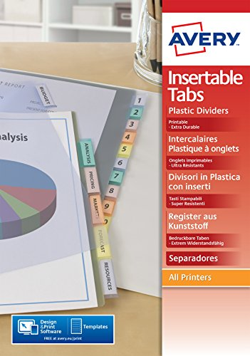 AVERY - Intercalaires à onglets personnalisables et imprimables, 6 touches, Format A4, En polypropylène coloré translucide