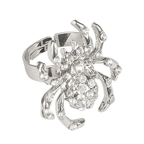 Anello ragno con strass, in metallo