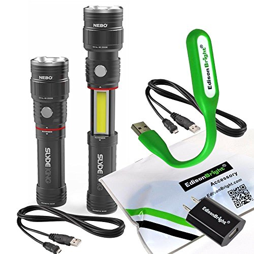 2 Pack Nebo 6434 Slyde King 330 Lumen USB rechargeable LED flashlight/Worklight, rechargeable Li-ion battery with EdisonBright USB power adapter and EdisonBright USB reading light bundle