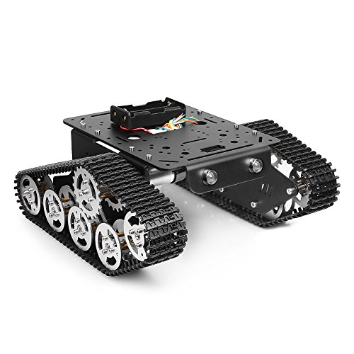 Tracked Robot Smart Car Platform Metal Aluminium Alloy Tank Chassis with Powerful Dual DC 9V Motor for Arduino Raspberry Pi DIY STEM Education Easy Assembly, 11.0x9.8x4.5inch, 3Lb (Assembled)