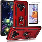LG Stylo 6 Case, with HD Screen Protector, YZOK Military Grade Protective Phone Case with 360 Degree Rotating Metal Ring, Holder Kickstand, Anti-Scratch Bracket Cover Case for LG Stylo 6 (Red)