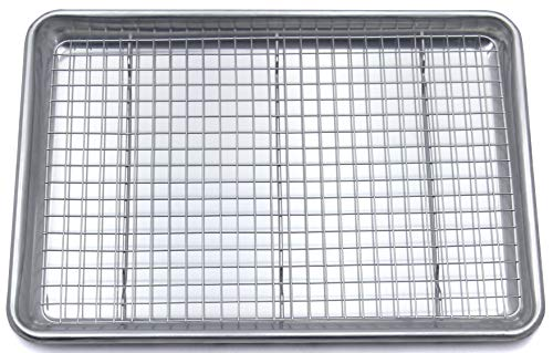"""Checkered Chef Baking Sheet And Cooling Rack Set - Rimmed Aluminum Baking Pan 16.5 x 11.5"""" With Stainless Steel Baking Rack 15 x 10"""""""