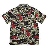 (スタイルド バイ オリジナルズ)Styled by Originals 大鯉流水 舞桜 半袖 和柄 レーヨン100% アロハシャツ XL BLACK(ブラック)