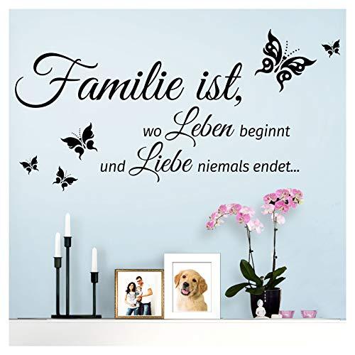 Grandora Wandtattoo Spruch Familie ist, wo Leben beginnt und Liebe Niemals endet. I schwarz (BxH) 80 x 40 cm I Wohnen Schmetterling Wandsticker W5548