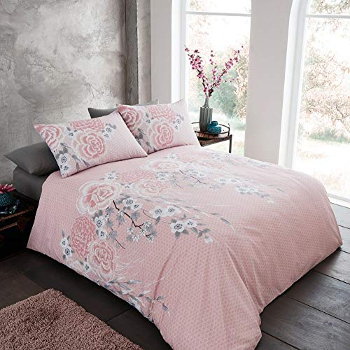 Catherine Lansfield Oriental Blossom Easy Care Double Duvet Set Blush