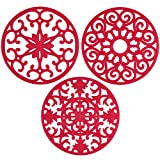 gasaré, Extra Large, Extra Thick, Silicone Trivets, Trivet Mat, Heat Resistant, Non-Slip, Dishwasher Safe, Round Design, for Hot Dishes and Kitchen Countertops, 10 x 3/8 inches, Set of 3, Red