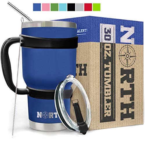 yeti insulated drink mugs Royal Blue North Stainless Steel Vacuum Insulated 5-Piece Tumbler Set, 30 oz, Travel Mug For Home, Office, School – Like Yeti Tumbler For Ice Drink & Hot Beverage (Royal Blue Stainless Steel Mug)