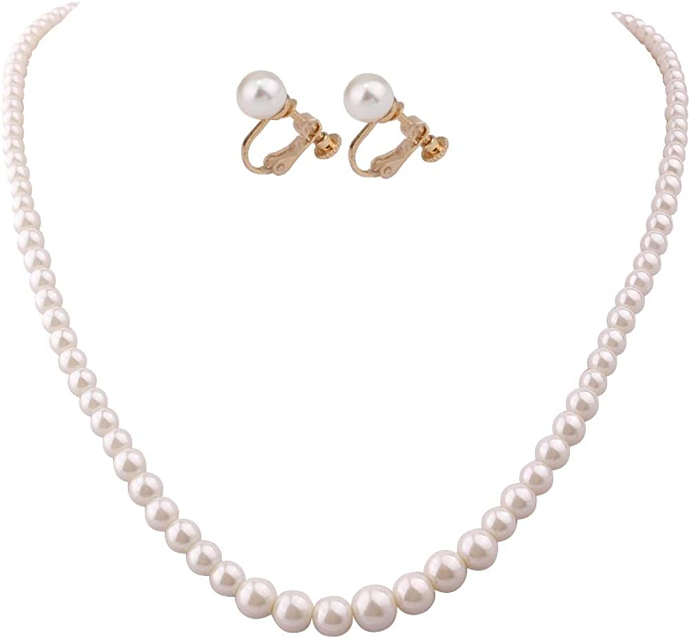 HAPPYAN Handmade Faux Pearl Necklace and Clip on Earrings Jewelry Sets for Women Bib Choker Collar Necklace