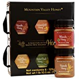 Raw Honey Gift Box (Set of 6) with Premium Manuka Honey MGO 83, Gourmet Honey Collection, 100% Pure Natural Honey Gift Sets, 6 x 4.4oz Honey Pots, Perfect Gourmet Food Gift for Families
