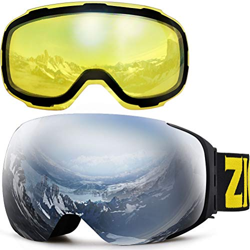 ZIONOR X3 Ski Snowboard Snow Goggles with Magnet Lens Anti-Fog UV Protection Spherial Design for Men Women Adult (Silver+YellowLens)