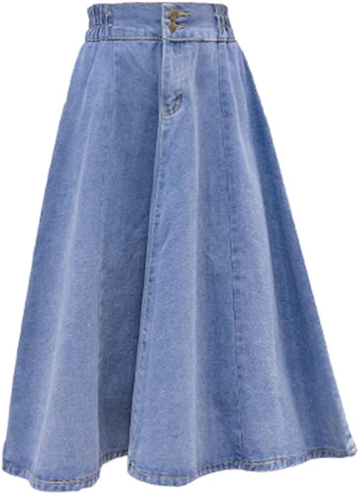 Summer Women Elastic Waist Denim Skirt Mid-Length A-line Casual Swing Skirt