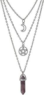 MJartoria Moon Pentagram Necklace Pentacle Chakra Charm Pendant 3 Multi Layer Alloy Chain Choker Necklace Set Gothic Jewelry