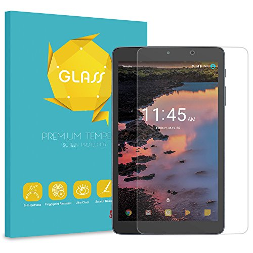 Fintie Tempered Glass Screen Protector for Alcatel Joy Tab 2 2020 / Joy Tab 8 - [Anti Scratch] Premium HD Clear [9H Hardness] Protective Screen Protector compatible with Alcatel 3T / A30