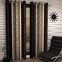 DECO READY Abstract 2 Piece Eyelet Polyester Window Curtain Set -6Ft-Brown
