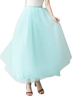 Aivtalk Donna Retro Tutu Gonna in Tulle Lunga A Vita Alta A-Line Sottoveste Rockabilly Costumi Danza Balletti Gonne