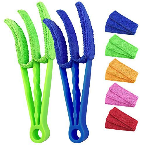 Window Blind Cleaner Tools: 2Pack Cleaner Duster Brush with 5 Microfiber Sleeves for Window Shutters Blind Air Conditioner Groove Gap Dust