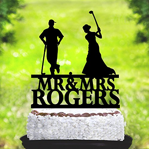 Susie85Electra Golf Wedding Cake Toppers Bride and Groom,Golf Theme Mr and Mrs Wedding Cake Toppers