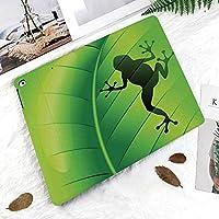カスタム IPad 2 3 4 ケース オートスリープ機能エキゾチックなマクロ熱帯葉植物野生生物自然図のカエルのシルエット