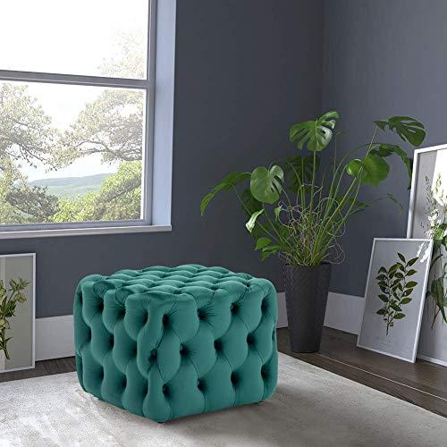 Moderner Chesterfield Couchtisch Fußhocker Deep Button Ottoman Pouffe Sitz für Wohnzimmer (Dunkelgrün Quadrat 50 * 50 * 40)