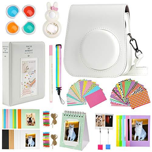 Cpano Mini 11 Paquetes de Accesorios de cámara para FujiFilm Instax Mini 11 con Estuche de cámara/álbum de Libro/Selfie len/Marcos para Colgar en la Pared/Pegatinas/lápiz(13 en 1 (Blanco)