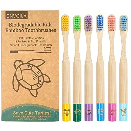 Cepillo de dientes de bambú, cepillos de dientes ecológicos para bebés, cepillo de dientes suave de viaje sin residuos, 6 paquetes
