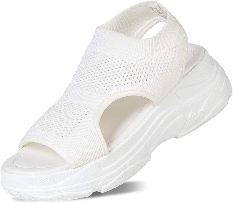 SUNROLAN Women's Open Toe Mesh Sandals Summer Lightweight and Breathable Slip on Backstrap Sport Sandals White 40 US 8