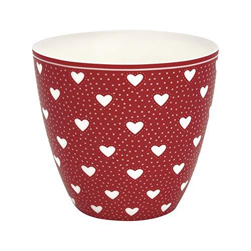 GreenGate Latte Cup Penny Rot Herzen Weiss Porzellan Kaffeebecher 300 ml