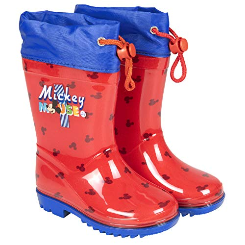 PERLETTI Disney Micky Maus Regenstiefel für Kinder - Rote Stiefeletten Mickey Mouse 28 - Regen Schnee Stiefel Wasserdicht Kleine Jungen - rutschfeste Sohle und Kordelzug Blau (Rot, Numeric_22)