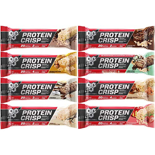 BSN Protein Crisp Bar Syntha-6 Low Sugar Whey Protein Bar 8 Flavors Variety Sampler Pack (8 Pack) Kansas