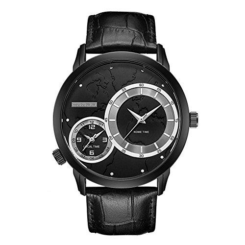 Mannelijk Horloge, 4 Kleuren Kwaliteit Mannen Metaal Waterdichte Dubbele Tijd Zone Quartz uurwerk Horloge met Stoere Metalen Band
