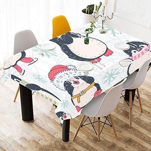 Zemivs Linge Coton Fait sur Commande Flocon Neige Pingouin Mignon d'hiver a imprimé la Nappe Couverture Tissu Table Tache carrée pour la décor Table Salle à Manger 60 x 84 Pouces