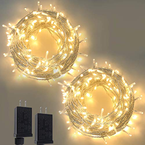 2-Pack Christmas String Lights Outdoor/Indoor, Super Bright 200 LED Christmas Tree Lights with 8 Modes, Waterproof Outdoor Fairy Lights for Wedding Party Bedroom Garden (Warm White)